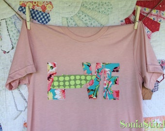 Tennessee Love Baseball Tee -Peach T-shirt - Floral and Dots - Tennessee shirt - Raggy Style applique