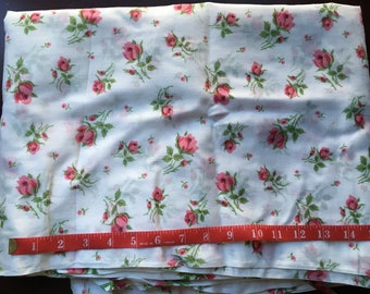 """Vintage Fabric White Cotton Pink Roses 3 1/3 + Yards 45"""" Wide Sweet Old Fashioned"""