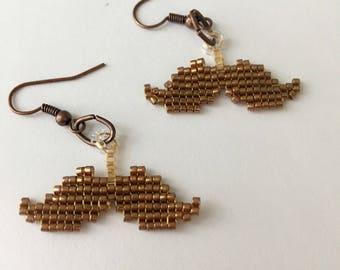 Mustache Beaded Earrings Handmade Dangle Cute Jewelry Customizable