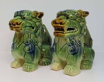 Chinese Foo Dogs - Chinese Fu Dogs - Imperial Guardian Lions - Chinese - Green Lion Dogs - Vintage - Chinese Lion Dogs - Oriental Figurines
