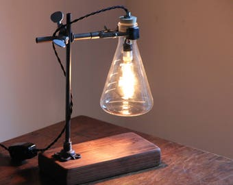 science chemistry gift industrial desk lamp table light cool laboratory scientist chic decor erlenmeyer flask salvaged