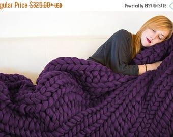 "ON SALE Eggplant Super Chunky Knit Merino Blanket, 40"" x 58"", Chunky Wool Blanket, Giant Knitting, Giant Super Bulky Knit Blanket, Extreme K"