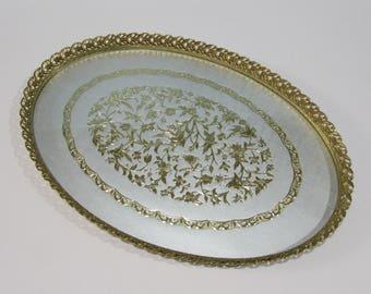 Brass Vanity Tray ~ Filigree Edge ~ Foil Inlay Insert on White ~ Shabby Chic ~ Jewelry Tray ~ Hollywood Regency