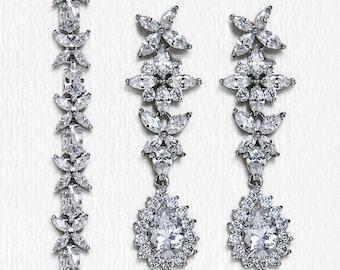 Wedding Jewelry Set,Silver Bracelet and Earring set, Bridal Jewelry, Bridal Accessories Silver Wedding Jewelry B239+E232