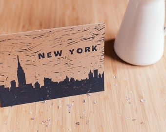 New York Skyline Linocut Card