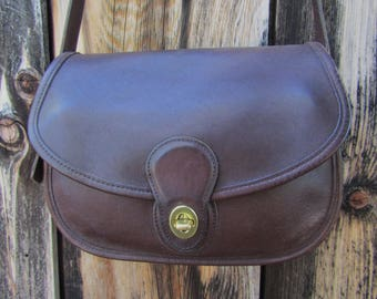 "Coach ~ Prairie Bag ~ Dark Brown ~ Glove Leather ~ Velvet ~ Vintage ~ Recycled ~ Mint ~ Medium Size ~ 10"" X 8"" X 4"""