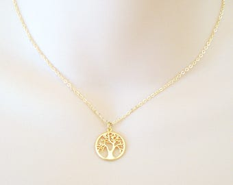 Gold Tree Necklace, Tree of Life Necklace, Dainty Charm Necklace, Nature Inspired, Layering Necklace, Gift for Her