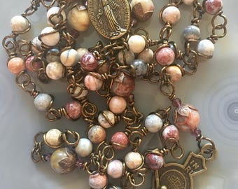 Beautiful Brass Wire Wrapped Agate Stone Tan  Rosary