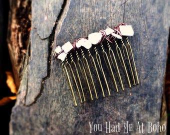 Vintage hair comb, hair jewellery, bohemian hair comb, boho hair accessory, boho wedding hair, gemstone comb, uk seller