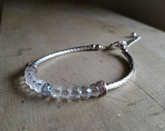 Bracelet - Twisted Silver Tubes & Crystals