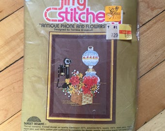 Vintage 1970s Jiffy Stitchery Antique Phone Lamp Floral Crewel Embroidery Craft Kit!