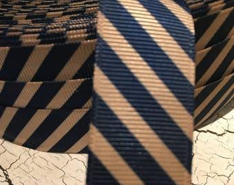 "3 yards 7/8"" BLack and Tan Preppy Diagonal Stripe Grosgrain Ribbon"