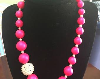 handmade hot pink and creamrose swarovski pearl necklace