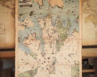 Bronze frame old map of london burned canvas 130 x 108cm city plan of sydney in 1922 australia cotton canvas antique wooden frame robinsons gumiabroncs Choice Image