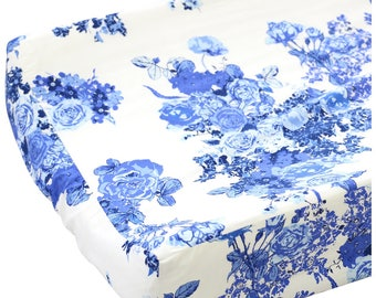 Juliet's Blue and White Floral Changing Pad Cover | Blue and White Floral Changing Table Cover | Floral Nursery