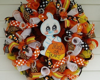 Halloween Wreath, Halloween Decor, Little Ghost Wreath