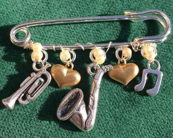 """The Jazz Lover's Kilt Pin Brooch - 2"""" Silver Plated Kilt Pin and Charms"""