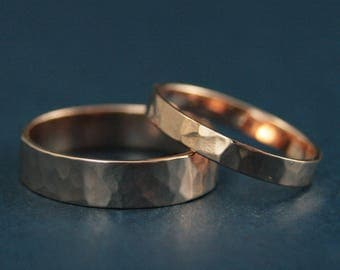 His and Hers Bands--Hammered Wedding Bands--Hammered Wedding Rings--Gold Wedding Band Set--Rustic Wedding Rings--Handmade Gold Bands
