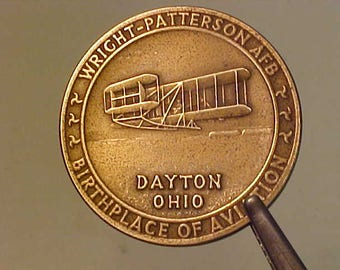 Wright Patterson AFB Birthplace of Aviation Dayton Ohio 1971 Brass Medallion by Medallic Art Co.