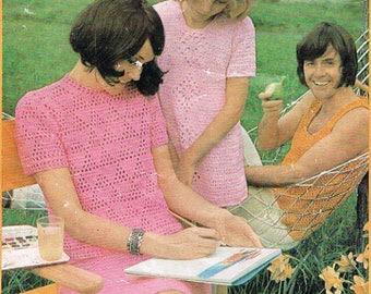 Vintage Patons Girls Dress Crochet PDF Pattern
