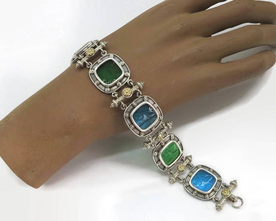 Sterling silver and 14 carat gold bracelet with intaglio Venetian glass panels in blue and green, Tagliamonte, Italy, 8 inches / 20 cm long