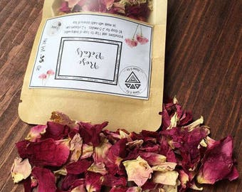 Organic Rose Petals,Fresh Dried Roses, Herb For Tea, Herbal Loose Leaf Tea, Organic Dried Herbs, Natural Tea