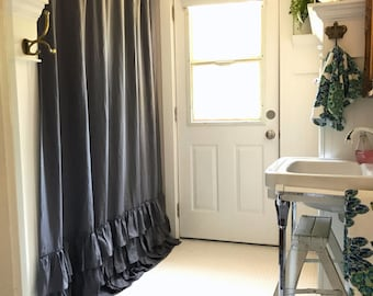 Shower Curtain, Linen Curtain, Grey Shower Curtain, Bathroom Decor, Grey  Linen,