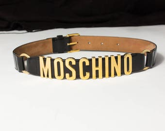 MOSCHINO vintage black and gold letters belt TG. 42