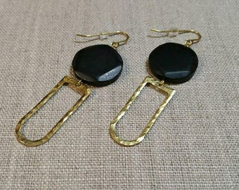 African Horn Hammered Brass D Ring Earrings  / Tribal Earrings / Boho Chic / Minimalist / Geometric - EHD02