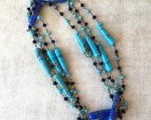 Vintage Art Glass Necklace, Flapper Length, Teal, Blue, Cornflower, End Of Day, KC170