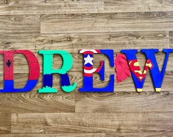 Superhero Wooden Letters, Wall Decorative, Ironman, Captain American, Superman, Green Lantern, Hulk, Batman, Spiderman,