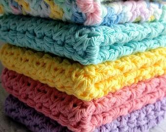 Crocheted Dishcloth Set/Crochet Washcloths/Handmade Hostess Gift Set/Crocheted/100% Cotton/ Eco-Friendly