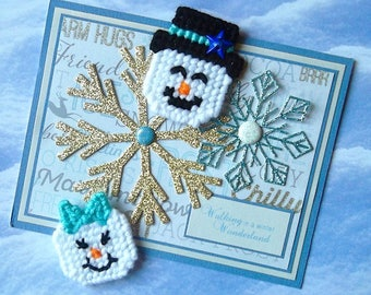 Plastic Canvas: Snow Couple Mini Magnets, Aruba Sea Blue (set of 2 -- snowman and snow woman)