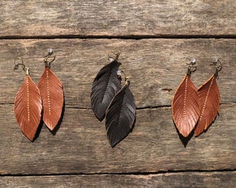 Leather Feather Earrings Brown Western Chic, Leather Earrings, Genuine Leather Earrings, inspired by Joanna Gaines