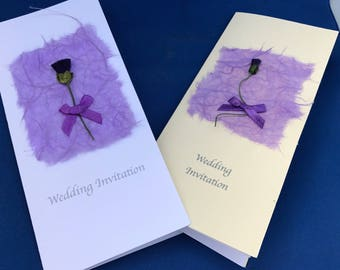 Scottish Wedding Stationery ; Thistle themed wedding invitations ; customisation with rose, daffodil or shamrock possible