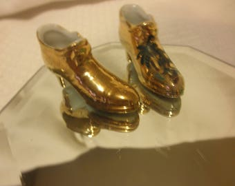 Gold Porcelain Pair of Shoes