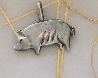 Antique Sterling , Cute Pig Charm.