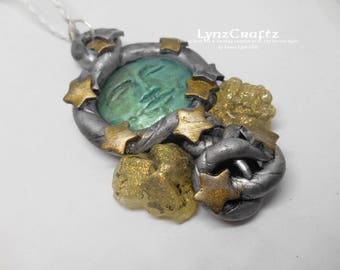 Moon Rocks silver, gold & turqouise polymer clay and resin jewelry pendant necklace handmade One of a Kind
