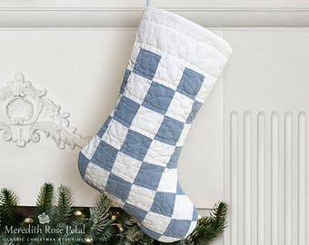 Boy Christmas Stocking, Boy Stocking, Quilted Christmas Stocking, Quilted Stocking