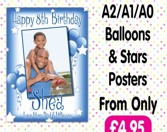 Personalised Photo Birthday Christening baptism Party Gloss Posters Any Age, Any Name, Any Event A001