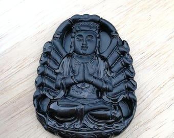 Jadeite pendant certified natural Grade A black icy ~ Guanyin ~ imperial Omphacite
