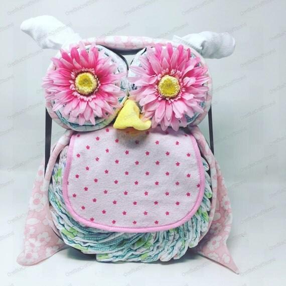 Newborn Baby Diaper Cake Owl, Diaper Cake Owl Baby Gift, Mom to be Diaper cake gift, Baby Shower Gift Centerpiece, Infant Diaper Cake, Pink
