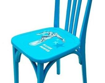 Chaise -- Sur COMMANDE // Chaise SILVER SURFER, bleue, collage, upcycling par SophieLDesign