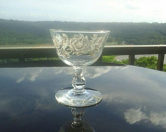Libbey's Rose Bouquet Clove Stem Pressed Glass White and Gold Rose Overlay Single Coupe Glass