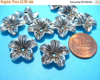 50% OFF Clearance Sale-- Antique Silver Flower Bead Caps 17x4mm