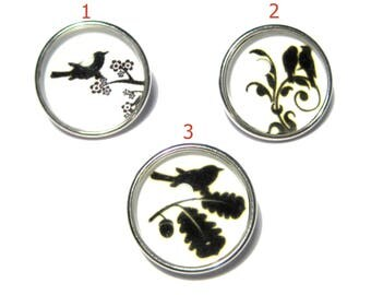 Silver Tone Round Birds Snap Buttons Charms(No.33)