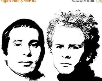40% OFF Sale Simon and Garfunkel Drawing T-Shirt