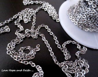 1 meter stainless steel chain (3x2,3mm) (cod.Stainless Steel)