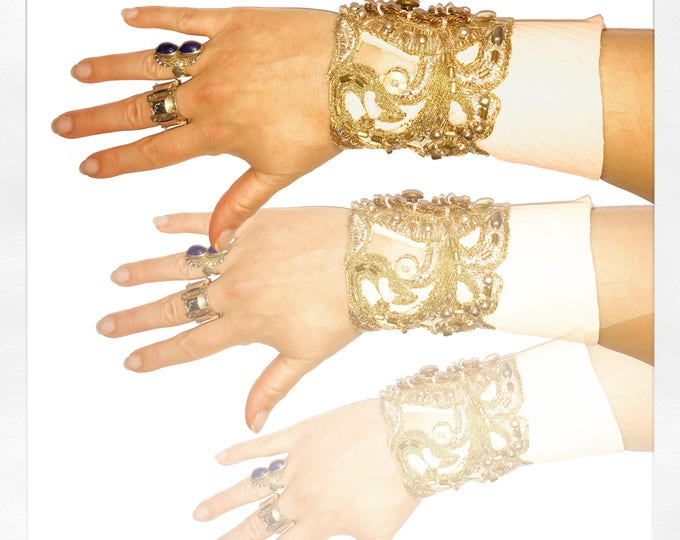Featured listing image: GILDED-MANE JEWELRY Cuff Bracelet in Cream Deerskin & Gold Lace