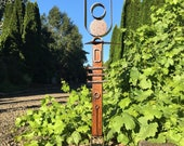 """Modern Abstract Metal Outdoor/Indoor Garden Sculpture """"Wicked Potentia Guardian of the Grapes"""" by Cristi Mason-Rivera"""